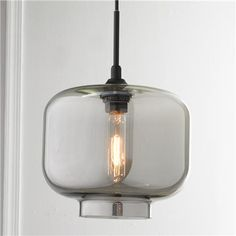hallway- Sleek and Chic Colored Glass Pendant $175