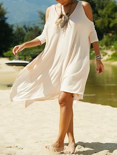 Cutout Batwing Irregular Dress