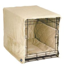 Pet Dreams- Plush Dog Crate Pad, Crate Cover and Bumper Set- Ivory Cream- Small