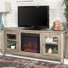 Walker Edison Furniture Company Rustic Wood and Glass Fireplace Stand for TV's up to Flat Screen Living Room Storage Cabinet Doors and Shelves Entertainment Center, 24 Inches Tall, Grey Wash Decor, Family Room Design, Fireplace Design, Living Room Storage Cabinet, Furniture, Living Room Designs, Fireplace Tv Stand, Tv Stand Wood, Home Decor
