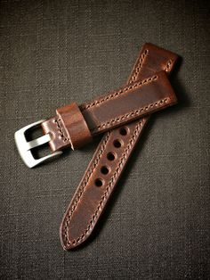 """""""Wakefield"""" Chestnut Handmade Leather Tapered Watch Strap - Bas and Lokes"""