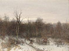 Vinterlandskap med rytter by Sophus Jacobsen