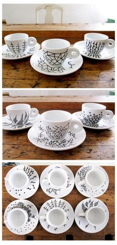 Black Porcelain Pen on white cups and saucers