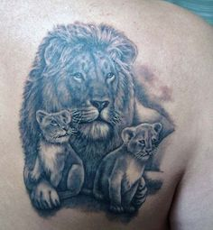 Powerful Lion Tattoo Design 2016 : Lion Family Tattoo Design