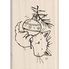 This would have been Boris, but he likely never thought of hanging from the ornaments. Inkadinkado Mounted Rubber Stamp CHRISTMAS KITTY 60-01339