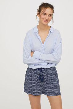 Patterned shorts - Dark blue - Ladies   H&M GB 3