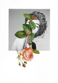 Dreamer Handmade collage by Rocio Montoya www.rociomontoya.com flowers nature botanical portrait