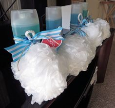 """Shower gel or organic soap bundles w/poof or loofah. Baby shower favors – """"From My Shower To Yours"""" Shower gel or organic soap bundles w/poof or loofah. Baby shower favors – """"From My Shower To Yours"""" Baby Shower Game Gifts, Idee Baby Shower, Baby Shower Prizes, Shower Bebe, Baby Shower Party Favors, Baby Shower Gender Reveal, Girl Shower, Spa Party, Babyshower Prize Ideas"""