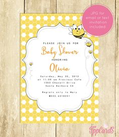 Bumble Bee Baby Shower Invitations Bumble Bee Baby Shower Invite Printable Baby Shower Invitation for a Boy Girl Instant Download 0015A by TppCardS #tppcards #printable #invitations