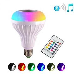 RGB LED Light Bulb Wireless Bluetooth Speaker Music Playing 16 Color Lamp Bulb Lighting Muis Bulb With Remote Controller Lamp Light, Light Bulb, Solar Mason Jars, Rgb Led, Light Music, Lamp Bulb, Lamp Bases, 1 Piece, Remote