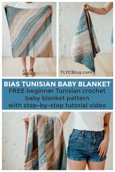 Make the fun and fast Bias Tunisian Baby Blanket, a FREE beginner-friendly corner-to-corner baby blanket from TLYCBlog in collaboration with JOANN stores. Pick your favorite color-changing cake yarn to achieve the unique marled look of this blanket. The FREE pattern available on the blog also includes a ste-by-step tutorial video and is perfect for those new to Tunisian crochet. | TLYCBlog.com