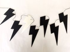 Black and White Lightning Bolt Garland 2m Nursery by CactusCo