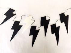 Black and White Lightning Bolt Garland 2m Nursery by CactusCo