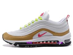 info for 8ff65 fabff Classique Nike Air Max 97 Gs Chaussures Sportswear Pour Femme Enfant Or  rose blanc 312641