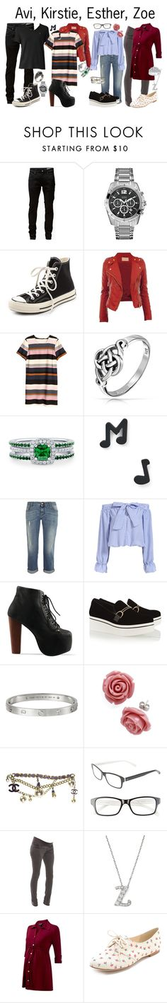 """""""Avi, Kirstie, Esther, Zoe"""" by samevans17 ❤ liked on Polyvore featuring Jack & Jones, GUESS, Converse, H&M, Bling Jewelry, BERRICLE, Marc by Marc Jacobs, STELLA McCARTNEY, Jeffrey Campbell and Chanel"""