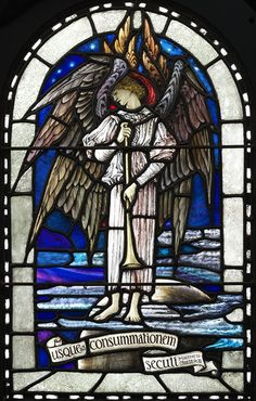 Trumpeting Seraphim, stained glass panel, Veronica Whall, 1925. Museum no. C.65-1973, given by Mr C.J. Whall.  V Museum