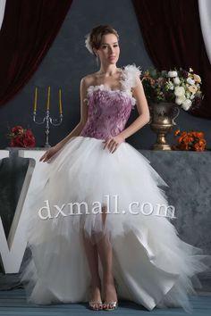 Short Wedding Dresses One Shoulder Sweep/Brush Train Netting Satin Multi-Colored 01001100063
