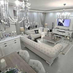 Glamour Living Room, Silver Living Room, Elegant Living Room, Cozy Living Rooms, Home Living Room, Apartment Living, Living Room Designs, Living Room Decor, Decor Room