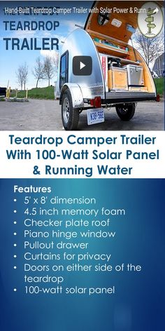 Teardrop Camper Trailer With 100-Watt Solar Panel & Running Water | Tiny Quality Homes