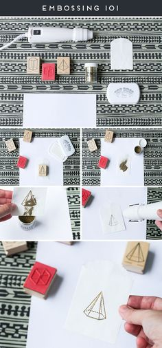 Embossing tutorial using rubber stamps and a heat gun