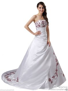 Faironly Satin Embroidery Sequins Beads White\Red Bridal Gown Wedding Dress