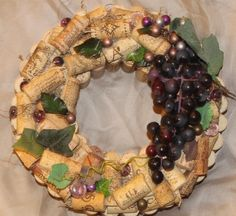 """Items similar to Handmade, Real Wine Cork Wreath - """"Natural Earth"""" on Etsy"""
