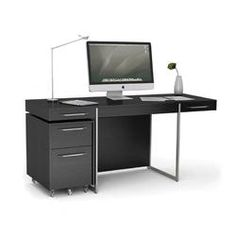 Shop BDI FORMAT Office Desk in Black Stained Oak, a striking combination of Natural Walnut/Satin White or a classic Black Stained Oak finish. Buy Now! Contemporary Desk, Modern Desk, All Modern, Wood Computer Desk, Black Desk, Work Desk, Desk With Drawers, Coaster Furniture, Home Office Furniture