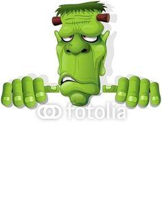 Frankenstein Halloween Cartoon Monster Background-Vector © bluedarkat