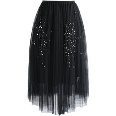 Chicwish Shining Stars Mesh Tulle Skirt in Black (710.425 IDR) ❤ liked on Polyvore featuring skirts, black, tulle ball skirt, mesh slip, tulle slip, knee length tulle skirt and holiday skirts