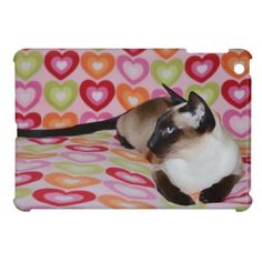 Dreamy Siamese Cat Hearts iPad Mini Covers