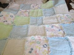 Rag quilted fringed flannel blanket for boy or girl.  Available at dasaprons-n-things/Etsy