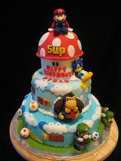 Super Mario Bros Cake birthday cake I recently made. Covered in fondant with gumpaste and fondant sculpted figures. Bolo Do Mario, Bolo Super Mario, Bolo Sonic, Sonic Cake, Mario Kart Cake, Mario Bros Cake, Cupcakes Super Mario, Fun Cupcakes, Super Mario Bros