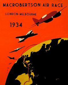 Vintage 1930's Poster Ad 'MacRobertson Air Race', London - Melbourne