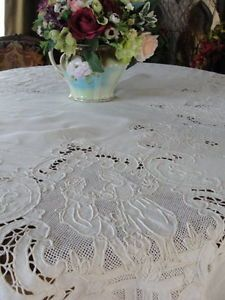 Beautiful Antique Appenzell Type Romantic Figural Bridal Lace Tablecloth 67x100 | Vintageblessings