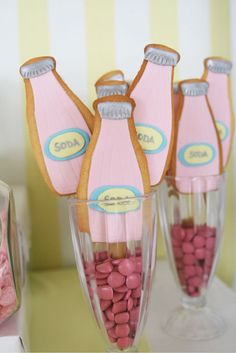 Soda Bottle Cookies ~ love how they are displayed!