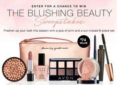 Enter the Avon Blushing Beauty Sweepstakes for a chance to win this 8-piece prize set that's worth $74! You don't have to buy a thing to enter and Avon Representatives can enter, too!   The 8-piece prize set includes: 1 - Avon True Color SuperExtend Nourishing Mascara in Black 1 - Avon True Color Bronzing Pearls in Sunkissed 1 - Avon True Color Glimmersticks Eyeliner in Majestic Plum 1 - Avon True Color Smooth Minerals Blush in Blushed 1 - Avon True Color 8-in-1 Eyeshadow Palette in Nude…