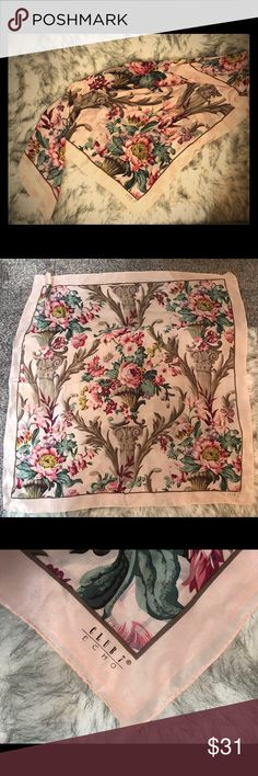 "1970's Echo Club 7 Silk Scarf Beautiful floral & column vintage silk scarf! 33""x33"" square Echo Accessories Scarves & Wraps"