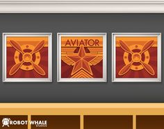 3 prints of plane propellers and aviator's badge. For an aviation and airplane kids bedroom.