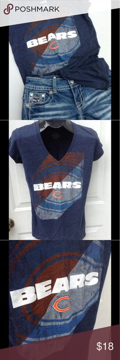 XL Women's Bears V Neck Tee Cheer on your favorite team in this sexy fitted tee.  Very soft.  Worn once, excellent condition.  Distressed look.  Material content in last photo. Tops Tees - Short Sleeve