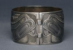 Lot: Superb Charles Edenshaw Coin Silver Bracelet with, Lot Number: 0170, Starting Bid: CA$5,000, Auctioneer: Seahawk Auctions, Auction: Native Art & Artifacts Auction, Date: June 22nd, 2014 MDT