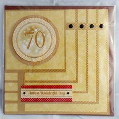 "£2.50 6x6"" 70th birthday card with gem details"