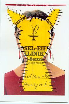Mosel-Eifel Klinik. Personal Identity 2003-14. Self-portraits with sewn-in original documents, birth certificate, SIM cards.