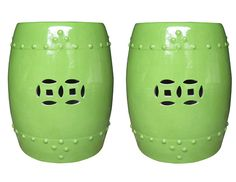 WholestoreSALE Chinese Oriental Ceramic Square Lime Green Stool Cs2112E    Oriental And Stools