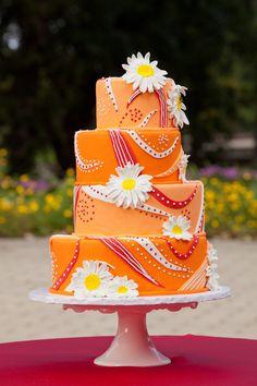 Orange, red, white wedding cake   Cakefections   ©Edward Fox Photography