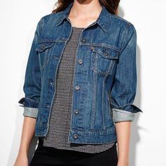 Levi Jean Jacket My fave item!!! Size Large, but fits like a Medium! Just bought a new one for my birthday so now looking to pass this one on ☺️ THE FIRST PHOTO SHOWS THE STYLE OF THE JACKET ; last 3 photos are the actual jacket & color! Levi's Jackets & Coats Jean Jackets