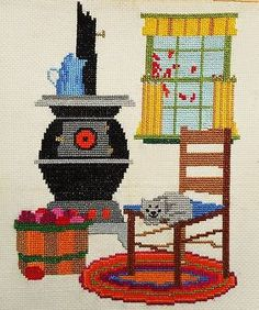 Farm House Room Cat Chair Vtg Finished Completed Hand Embroidery Cross Stitch