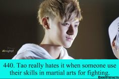 Says the boy who is always decking people in music videos and teasers lol ♡ you Tao!