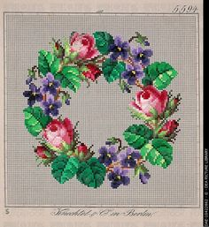 Embroidery, Germany 19th century. Crown of roses and violets embroidery design. DAE-10422862 © DEA PICTURE LIBRARY