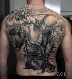 Rücken Realistische Krieger Tattoo von Aero & inkeaters