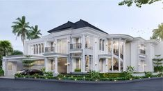 Paul Private House Design - Bogor, Jawa Barat- Quality house design of architectural services, experienced professional Bali Villa Tropical designs from Emporio Architect. Classic House Exterior, Classic House Design, Dream House Exterior, Tamizo Architects, House Outside Design, Modern Villa Design, Beautiful House Plans, Luxury Homes Dream Houses, Floor Design